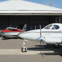 1958 Piper Commance (red&white) and 1973 Cessna 340